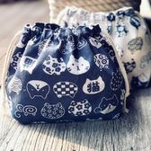 保鮮袋 日系原創手工棉麻可愛抽繩飯盒便當午餐帶飯收納包袋