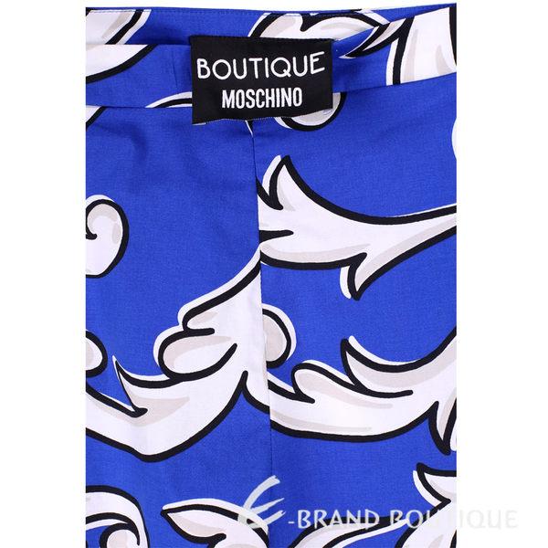 BOUTIQUE MOSCHINO 藍色印花圖騰抓褶短褲 1620530-23