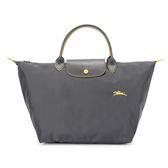 Longchamp 1623 LE PLIAGE 奔馬刺繡短提把中型尼龍摺疊水餃包(鐵灰色)480207-300