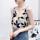 樹葉吊帶背心女2021夏季新款韓版寬鬆顯瘦清新無袖印花心機上衣潮 小時光生活館