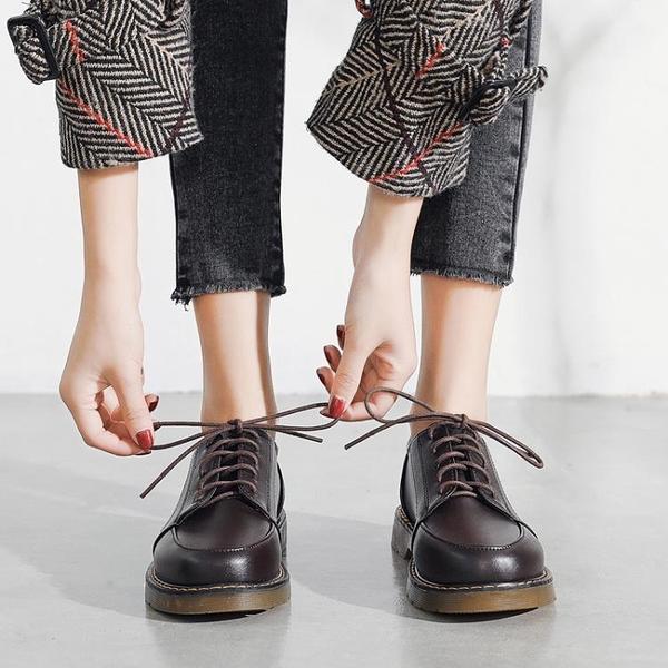 中大尺碼牛津鞋 英倫風復古小皮鞋女2021新款日系學生百搭平底韓版黑色單鞋女 8號店