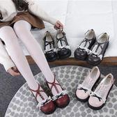 洛麗塔Lolita皮鞋洋裝圓頭蕾絲蝴蝶結日系厚底【聚寶屋】