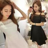 春季韓版夜店性感露肩一字領蕾絲洋裝短袖a字吊帶小黑裙子 科炫數位