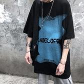 短袖黑衣 小眾潮牌歐美高街復古慵懶原宿風短袖T恤男寬