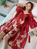 大碼吊帶睡裙真絲綢長款睡袍兩件套胖mm200斤結婚伴娘新娘睡衣女「時尚彩紅屋」