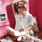睡衣女夏純棉短袖韓版清新甜美可愛學生可外穿寬松家居服兩件套裝