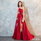 長禮服2018結婚新款紅色秋中式晚禮服宴會修身答謝宴禮服zzy3395『伊人雅舍』