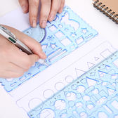 萬花尺 尺子學生文具 幾何多功能尺萬花尺繪畫尺數學尺兒童學習用品2件套 3色