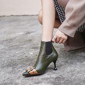 {丁果時尚}大尺碼女鞋34-46►2018歐美明星款拼色大扣帶環尖頭高跟短靴馬靴子*2色