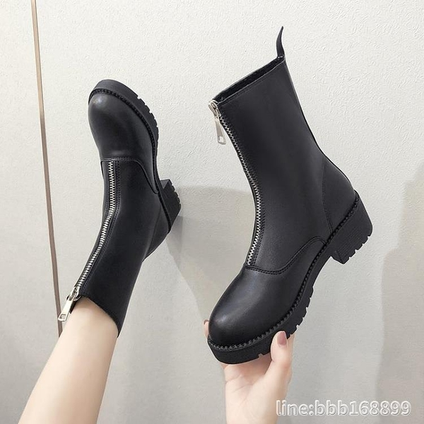 長靴 網紅不過膝長筒靴女年新款秋季百搭中筒馬丁靴女時尚騎士靴潮 瑪麗蘇