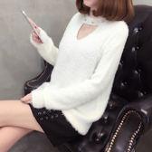 【GZ82】秋冬新款韓版女裝 甜美鏤空釘珠打底針織上衣女 加厚海馬毛套頭毛衣