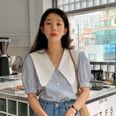 韓國百搭寬松短袖襯衫女2020夏季減齡可愛娃娃領大翻領燈籠袖短款上衣