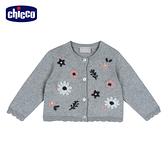 chicco-灰色浪漫-棉質繡花朵針織外套