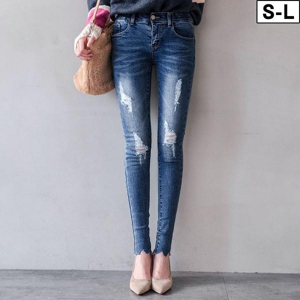 MIUSTAR 彈力腰圍刷白磨破不修邊褲管合身牛仔褲(共1色,S-L)【NJ0656EP】預購