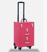 新款多層萬向輪拉桿化妝箱專業美甲工具箱跟妝箱大號
