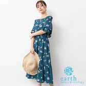❖ Summer ❖ 花朵打印荷葉下擺剪裁連身洋裝 - earth music&ecology