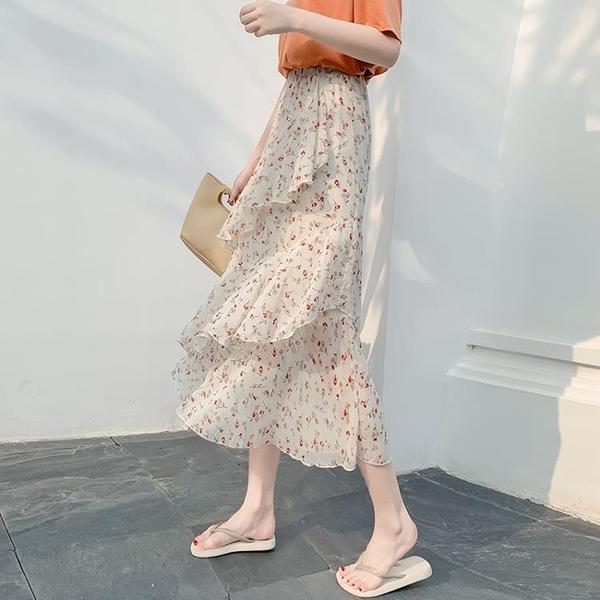 長裙 春夏季碎花蛋糕裙不規則韓版chic高腰顯瘦中長款半身裙氣質仙女裙