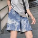 【Charm Beauty】扎染褲子 女潮ins 寬鬆 直筒 夏季 薄款 休閑 沙灘褲 闊腿 運動 五分短褲