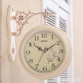 雙面掛鐘歐式創意表客廳靜音田園時鐘表兩面個性時尚現代簡約掛表  居家物語