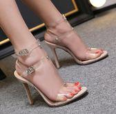高跟涼鞋女 韓版女鞋子 夏季新款歐美款涼鞋性感超高跟透明膠女鞋高跟鞋【多多鞋包店】ds4083