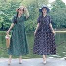 洋裝 民族風復古V領盤扣小碎花棉麻短袖洋裝夏季寬鬆顯瘦大擺長裙女-Ballet朵朵