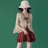 仙女范韓國ins遮肚顯瘦罩衫溫泉保守學生連體泳衣女 快速出貨