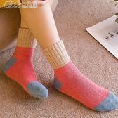襪子 襪子女冬裝堆堆襪款中筒襪純棉長襪毛線全棉韓國加厚羊毛保暖「Chic七色堇」
