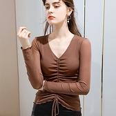 網紗滾邊內搭長袖T恤性感V領褶皺抽繩上衣(三色S-3XL可選)/設計家 AL30929