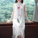 休閒洋裝21夏新款中國風氣質刺繡高貴闊太太旗袍式無袖背心雪紡連身裙 快速出貨