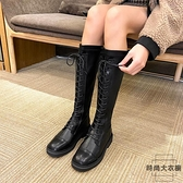 中筒馬丁靴彈力系帶長靴女不過膝騎士靴高筒靴【時尚大衣櫥】