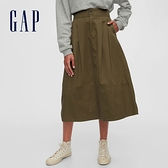 Gap女裝 時尚高腰鈕釦開合長裙 593750-綠色