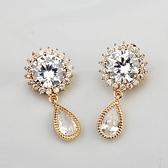耳環 玫瑰金 925純銀鑲鑽-艷麗動人情人節生日禮物女飾品2色73gs47【時尚巴黎】