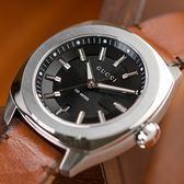 GUCCI Stainless Steel 銀框黑面經典皮革腕錶 YA142207 熱賣中!