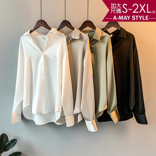 加大碼上衣-小資女氣質V領緞面襯衫(S-2XL)