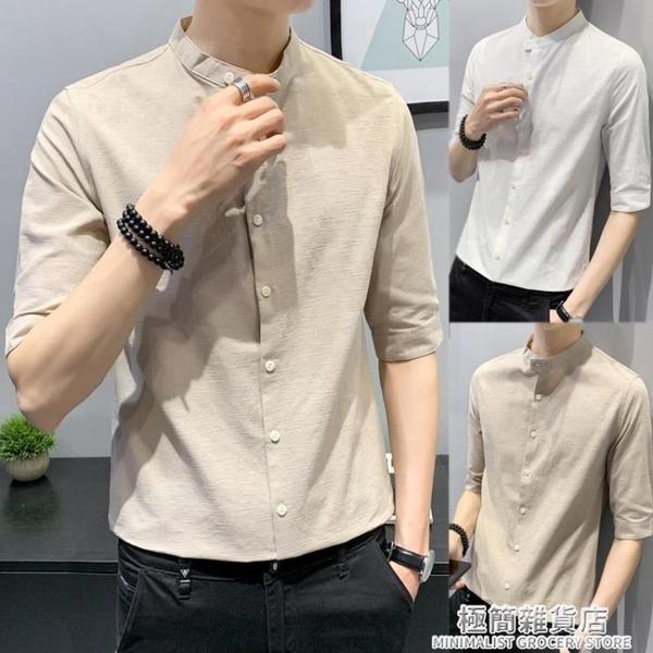 亞麻襯衫男韓版潮流夏季薄款棉麻七分袖上衣外穿半袖圓領短袖襯衣 極簡雜貨