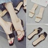 涼拖鞋女夏時尚外穿新款韓版百搭時尚金屬扣粗跟中跟一字拖鞋 時尚潮流