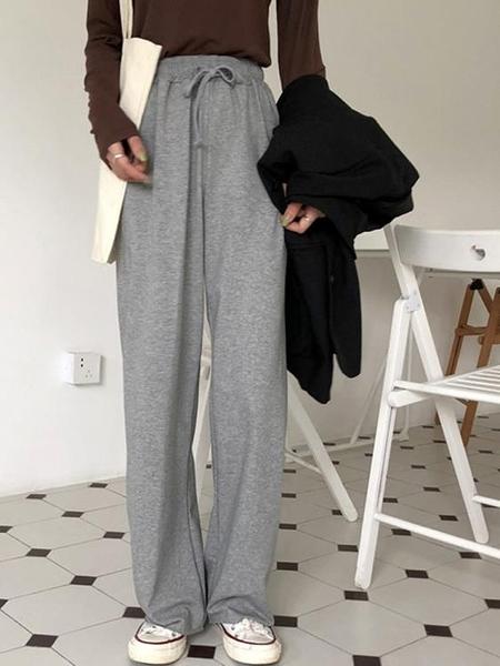 秋季寬鬆直筒褲子顯瘦休閒垂感寬褲女高腰長褲百搭拖地運動褲潮 米娜小鋪