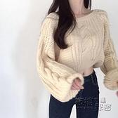 女士春秋外穿法式慵懶風短款毛衣寬鬆套頭薄款針織上衣年新款 雙十二全館免運