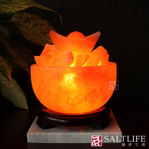 【鹽夢工場】創意造型鹽燈-大元寶聚寶盆-6吋