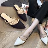 快速出貨 拖鞋女 時尚鏤空平底涼拖防滑尖頭網紅百搭包頭外穿半拖鞋
