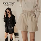 皮褲 Space Picnic 高腰鬆緊短皮褲-2色(預購)【C21082069】