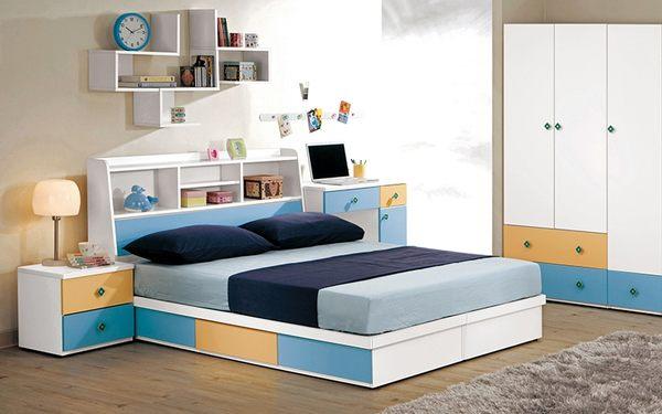 【森可家居】艾文斯5尺書架型床頭箱 8CM671-3 雙人 藍 白色 收納功能