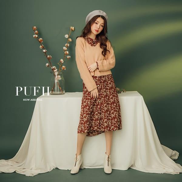 現貨 PUFII-洋裝 清新碎花中山領雪紡連身裙長洋裝(附腰綁帶) 2色-1220 冬【ZP15779】