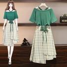 兩件式洋裝 L-4XL夏裝新款顯瘦減齡連衣裙胖妹妹連身裙兩件套裝3F088.5568 胖丫