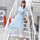 網紗裙 - T恤裙子女套裝裙夏裝新款韓版印花ins超火網紗連衣裙兩件套潮【韓衣舍】