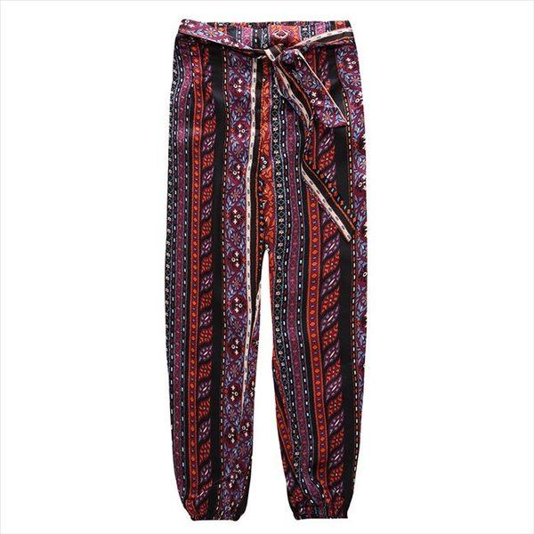 找到自己 G5 韓國時尚 民俗風寬褲 休閒 舒適 夏季 新款 透氣 長褲