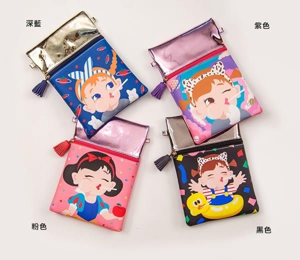 韓版實拍可愛棒棒糖女孩拼接手機包斜背包肩背包化妝包女士女用手拿包側背包包-共4色-B290087-FuFu