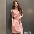 亞麻洋裝 夏季女裝棉麻連身裙新款韓版中長款修身顯瘦亞麻系帶短袖裙子 韓菲兒