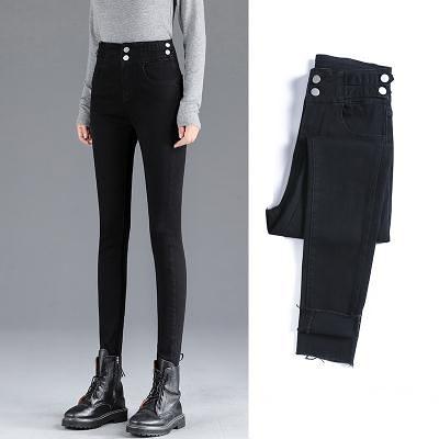 秋冬季高腰牛仔褲女修身顯瘦彈力小腳褲緊身九分鉛筆褲子T328 韓依紡