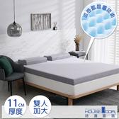 House Door 防蚊防螨11cm藍晶靈涼感舒壓記憶床墊-雙大復刻灰